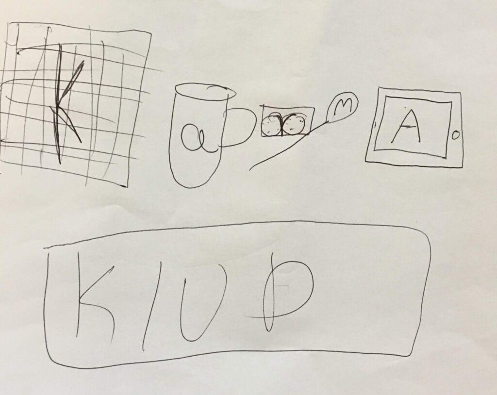 Håndtegnet logo til vores lommepengeg app Karmaklud