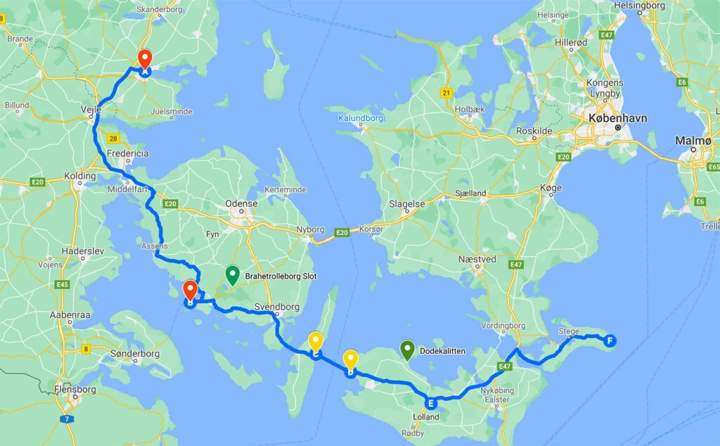 Kør selv ferie i Danmark - rute