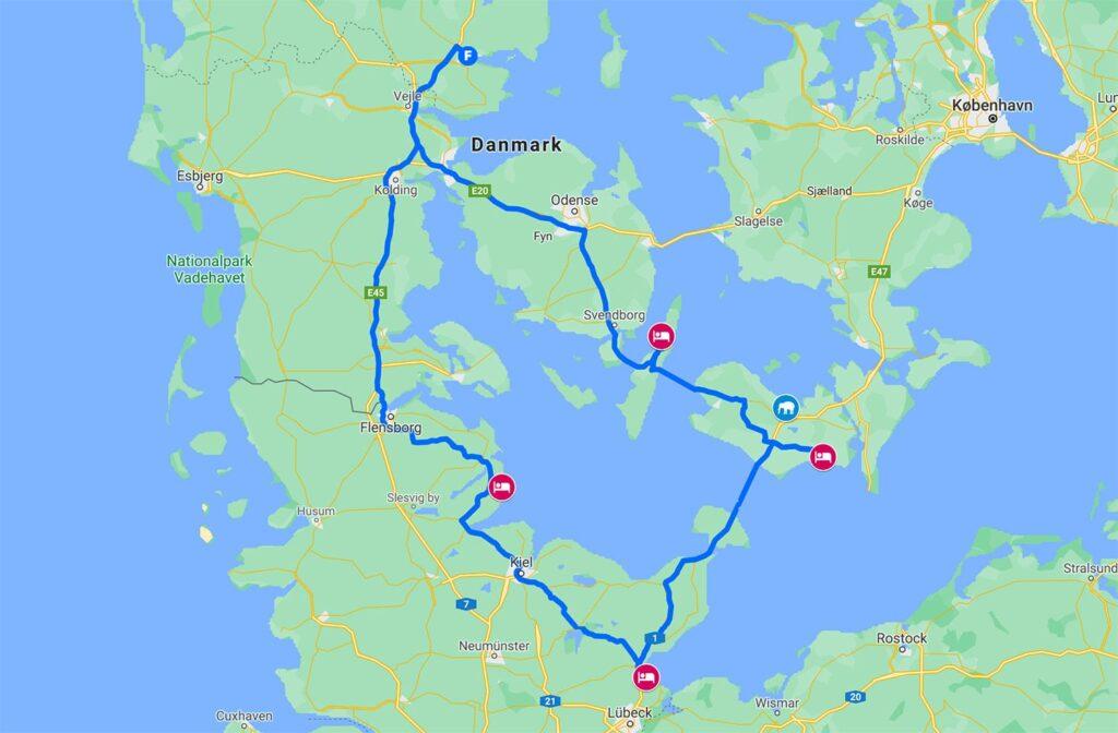 Kør selv ferie i Danmark og Tyskland - rute